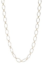 Argentovivo 18K Yellow Gold Plated Sterling Silver 16' Oval Link Chain Necklace Metallic