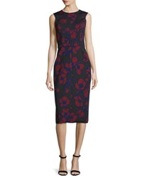 Oscar De La Renta Sleeveless Poppy Print Sheath Dress Bordeaux Black Red Black