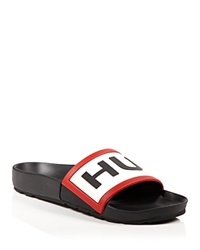 Hunter Flat Slide Sandals Logo Black