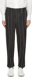 Homme Plisse Issey Miyake Black Striped Trousers