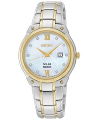 Seiko Women's Solar Diamond Accent Two Tone Stainless Steel Bracelet Watch 30Mm Sut214