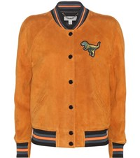 Coach Suede Bomber Jacket With Embroidered Applique Orange