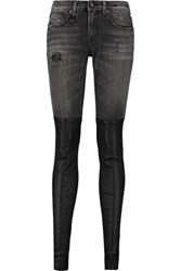 R 13 R13 Leather Paneled Skinny Jeans Charcoal
