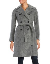 Ivanka Trump Belted Double Breasted Coat Grey