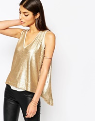 Club L Sequin Top With Open Chiffon Back Detail Mattegold