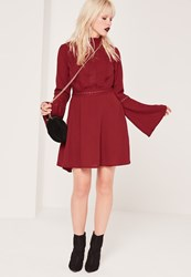 Missguided High Neck Lace Trim Skater Dress Burgundy