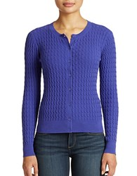 Lord And Taylor Cable Knit Cotton Cardigan Blue Violet