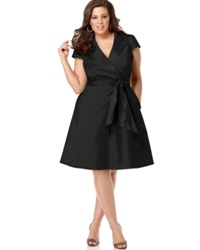 Spense Plus Size Short Sleeve Wrap Dress Black