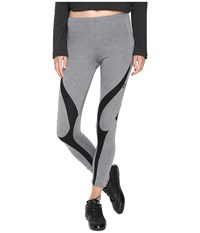 Yohji Yamamoto Jersey Leggings Mid Grey Heather Black Women's Casual Pants Gray