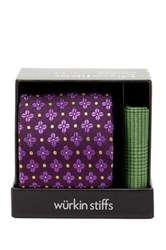 Wurkin Stiffs Floral Tie And Pocket Square Set Purple
