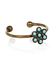 Isabel Marant Nitto Baguee Brass And Bead Ring Blue