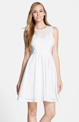 Plenty By Tracy Reese 'Alana' Shadow Stripe Fit And Flare Dress White