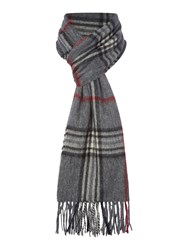 Howick Wool And Cashmere Check Scarf Grey