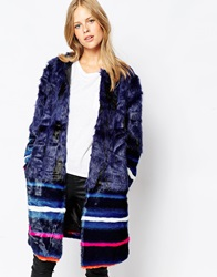 Urbancode Faux Fur Coat With Border Stripe Navy