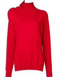 Les Animaux 'Ruffle Polo Neck' Sweater Red