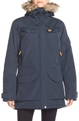 Fjall Raven Women's Fj Llr Ven 'Nuuk' Waterproof Hooded Parka With Faux Fur Tirm Dark Navy
