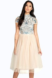 Boohoo Ely Embellished Top Tutu Skirt Skater Dress Turquoise