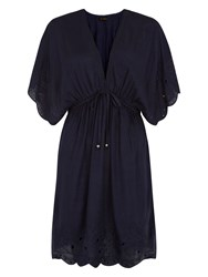 Accessorize Kai Embroidered Tabbard Dress Navy