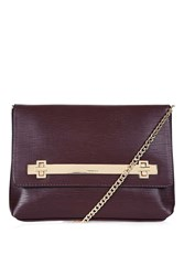 Topshop Solid Lock Cable Clutch Oxblood
