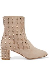 Valentino Studded Suede Ankle Boots Beige