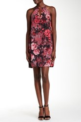 Eci Halter Floral Woven Trapeze Dress Pink