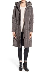 Calvin Klein Women's Long Down And Feather Fill Coat With Removable Faux Fur Trim Hood Titanium