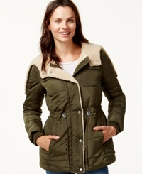 Levi's Hooded Sherpa Lined Puffer Coat Army Green