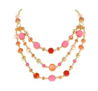 1928 Gold And Pink Faceted Bead Statement Necklace