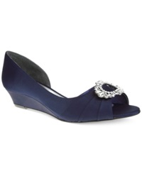 Nina Rivkah D'orsay Evening Wedges Women's Shoes New Navy