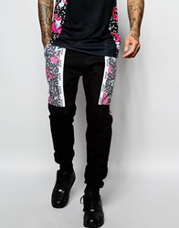 Hype Joggers With Retro Print Panels Black