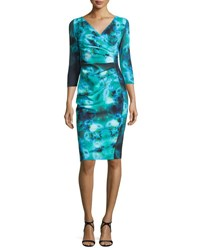 La Petite Robe Di Chiara Boni 3 4 Sleeve Ruched Floral Cocktail Dress Winter Blossom Blue Winter Blsm Blue