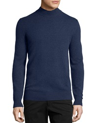 Neiman Marcus Cashmere Mock Neck Pullover Sweater Navy