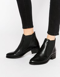 Park Lane Brogue Leather Chelsea Boots Black