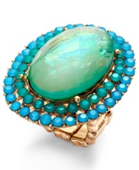 Style And Co. Gold Tone Blue Green Large Oval Ring Bluegreen