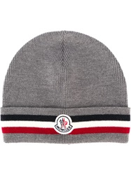 Moncler Striped Trim Beanie Grey