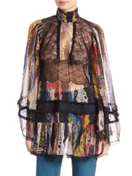 Roberto Cavalli Bell Sleeve Lace And Ruffle Silk Tunic Floral Multi