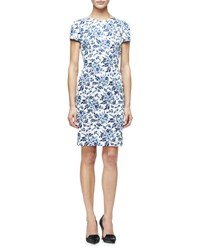Carolina Herrera Short Sleeve Floral Print Sheath Dress Blue Floral Navy White