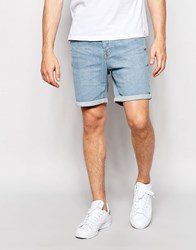 Only And Sons Denim Shorts In Slim Fit With Turn Up Light Blue Denim