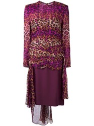 Jean Louis Scherrer Vintage Gathered Leopard Print Dress Pink Purple