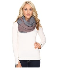 Ugg Fine Gauge Color Block Infinity Scarf Stormy Grey Heather Scarves White
