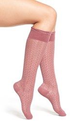Chelsea 28 Women's Chelsea28 Open Knit Knee High Socks Burgundy Crush