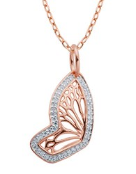 Lord And Taylor Butterfly 18K Rose Gold Plated Pendant Necklace Silver