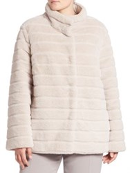 Basler Plus Size Reversible Faux Fur Coat Pearl