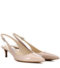 Prada Patent Leather Slingback Pumps Beige