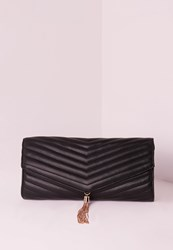 Missguided Chevron Quilted Tassel Clutch Bag Black