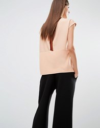 Selected Irina Short Sleeve Top With Wrap Back Opening Dusty Coral Pink