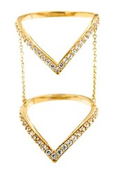 Milor Jewelry 14K Gold Pave Cz 'V' Chain Ring Metallic