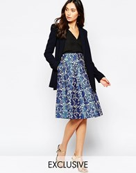 Helene Berman Gold And Blue Floral Skater Skirt Cobaltgold