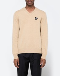 Comme Des Garcons Play V Neck Pullover In Beige