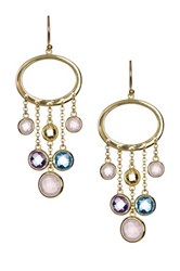 Gold Plated Sterling Silver Multicolor Cz Chandelier Earrings